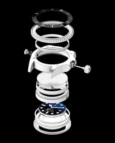 grazie al Ringlock System l'orologio può sopportare fino a un peso di circa tre tonnellate.