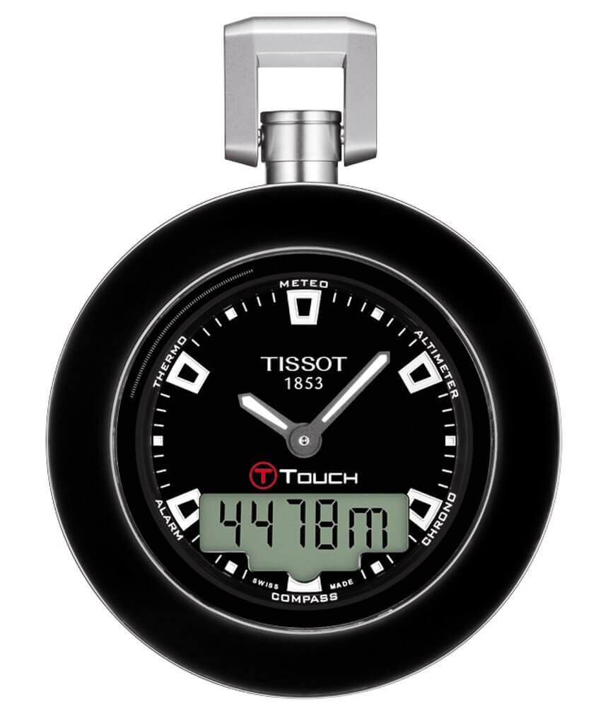 permette di utilizzare alcune delle sue funzioni come l'altimetro, il barimetro, il meteo, la il Tissot Pocket Touch temperatura e la sveglia.