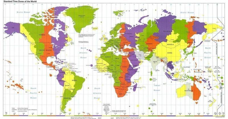 mappa dei fusi orari