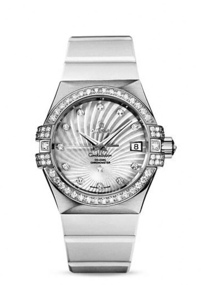 orologio da donna Omega Constellation Co-Axial in oro bianco su oro bianco
