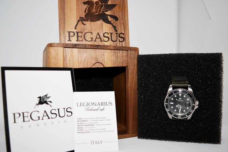 scatola e certificato  Pegasus Watches Legionary