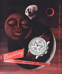 Pubblicità per il Chronomat Moon Phase, un orologio meraviglioso!  (E anche un meraviglioso e storico esempio di elaborazione grafica del 1940