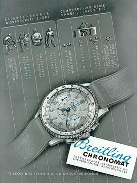 1945 pubblicità per il Chronomat ref 769  La traduzione: SCIENZA - SPORT  scala tachimetrica  pulsometro  telemetro cronometro  COMMERCIO - INDUSTRIA  prezzo di costo, i tassi di interesse  Regola del Tre  Divisione  Moltiplicazione  Breitling  Cronografo con regolo-calcolatore