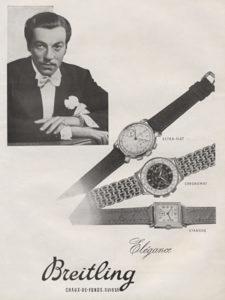 Un annuncio dal 1947 mostra Csar Romero, una star di Hollywood sotto contratto con la 20th Century Fox, con un Chronomat e altri due Breitling.