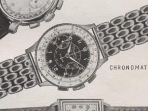Dettaglio della pubblicità del '47. Le lancette di ore e minuti di questa forma sono tra le più rare.