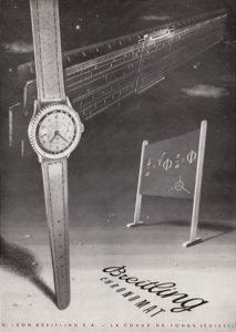 Pubblicità che mostra un Chronomat ref 769 del 48 e un regolo-calcolatore