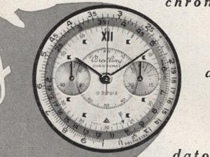 Dettaglio della pubblicità di sopra, del 1950. Questo quadrante, se è stato davvero mai prodotto, è molto ma molto raro.