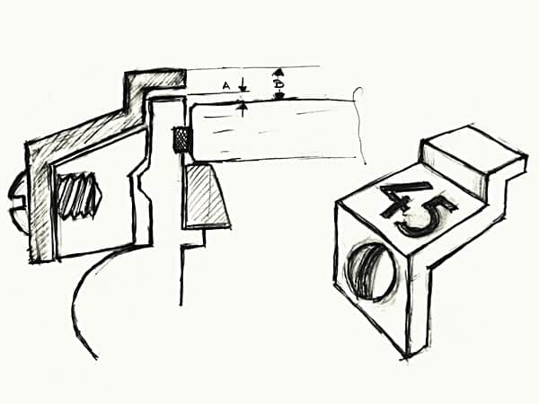"Progettazione ""Rider Tab"" originale di Ernest Schneider, 23/10/82. Foto da Breitling"