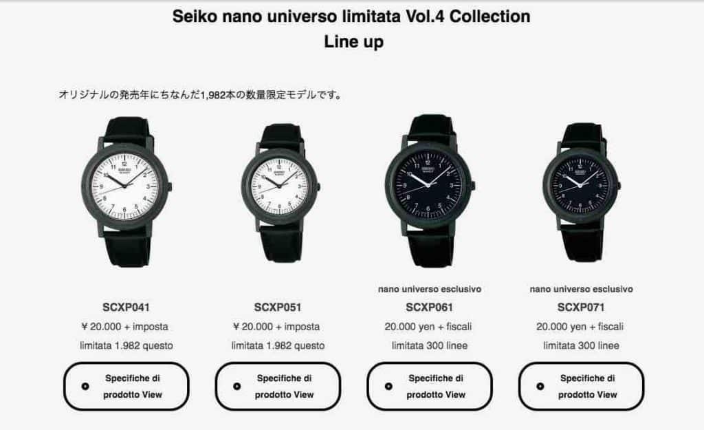 orologi Seiko nano edizione limitata
