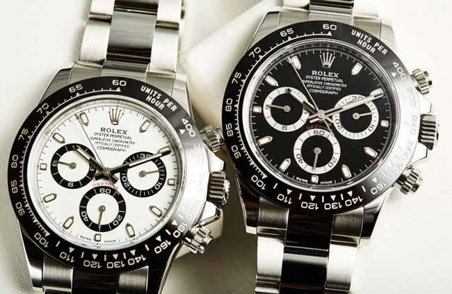 Rolex daytona 116500 con quadrante bianco e nero