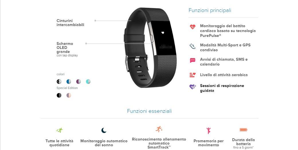 Caratteristiche e funzionalità del Fitbit charge 2
