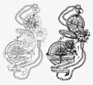 tattoo bussola e orologio