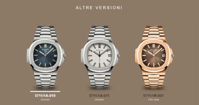 collezione orologi patek philippe nautilus a5711