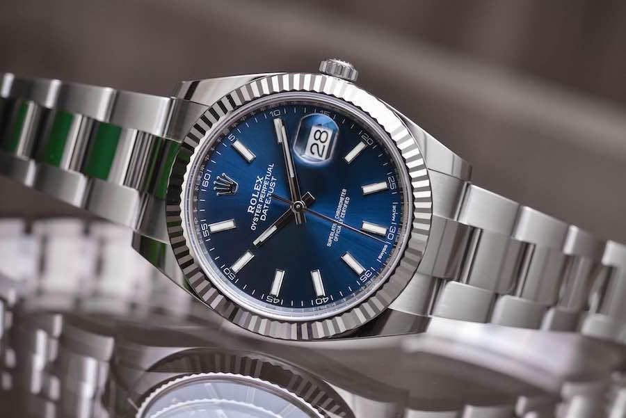 Rolex Datejust 41 in ACCIAIO 904L O CON LUNETTA ZIGRINATA IN ORO BIANCO 18 CT.