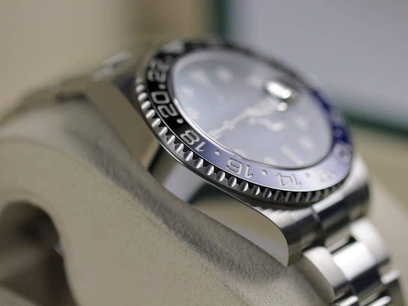 Rolex lunetta nero e blu bicolore batman gmt
