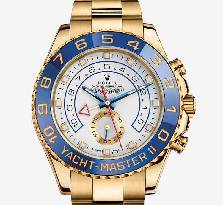 L'Oyster Perpetual Yacht-Master II in oro giallo 18 carati, il cui prezzo ammonta a 40.500,00 euro.