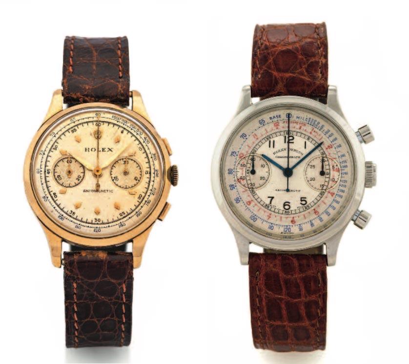 Cronografi Rolex: Un Rolex Chronograph Ref. 3834, nella versione in oro giallo. A destrA: Oyster Chronograph Antimagnetic Ref. 3525, cassa in acciaio, anni '4