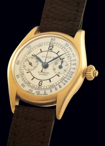 """Rolex Ref. 2303, Cronografo monopulsante """"Baby"""", cassa in oro giallo da 29 mm. Al suo interno un calibro da 10 linee e 1/2."""