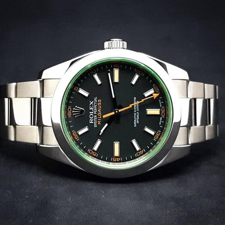 Rolex Milgauss con quadrante verde anche se in realtà è nero