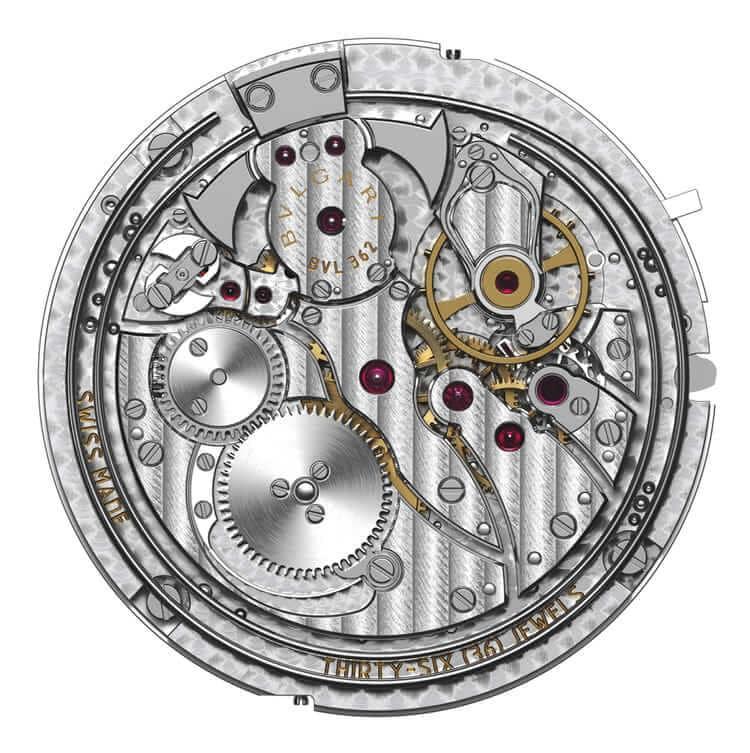 calibro BVL 362 che mostra componenti e decorazioni.