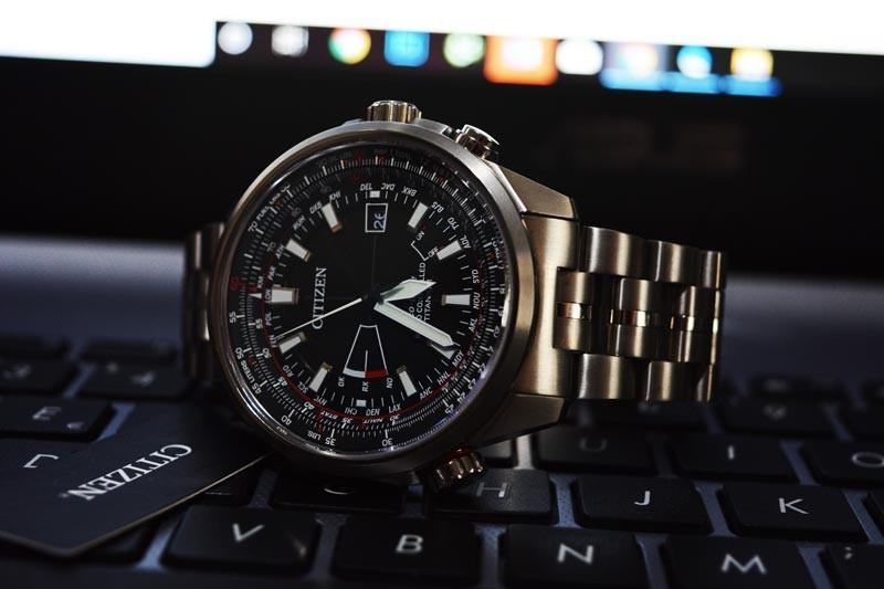 Opinione Orologio Eco drive Citizen Pilot titanio evolution 5 Cb0140-58E