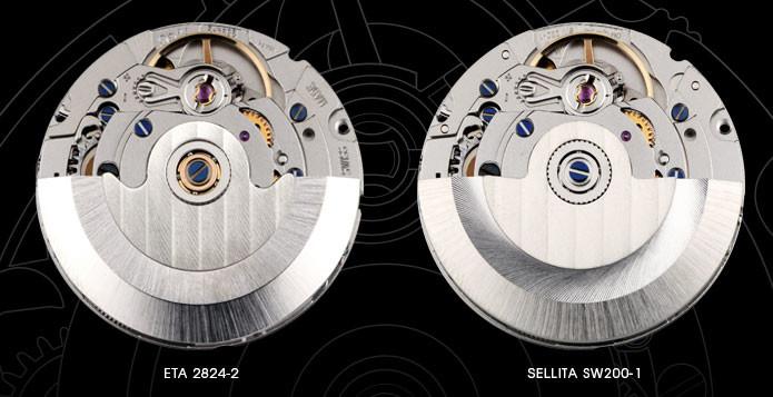 Movimento Sellita sw200 vs eta 2824