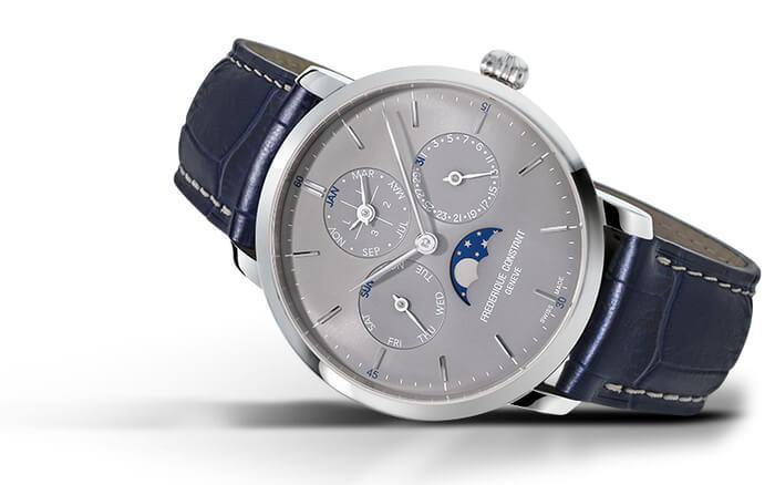 Frederique Constant Slimline Perpetual Calendar Manufacture, con cassa in acciaio da 42 mm e cinturino in alligatore blu navy (prezzo di 8.290 euro).