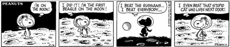 Striscia dei Peanuts (1969) a tema spaziale