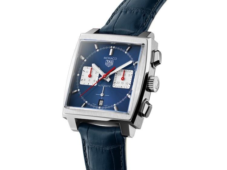 TAG Heuer Monaco Calibre Heuer 02 Blu con cinturino in pelle